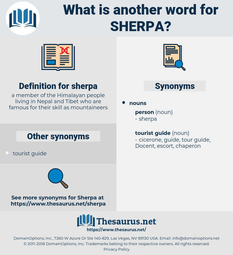sherpa, synonym sherpa, another word for sherpa, words like sherpa, thesaurus sherpa