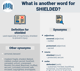 shielded, synonym shielded, another word for shielded, words like shielded, thesaurus shielded
