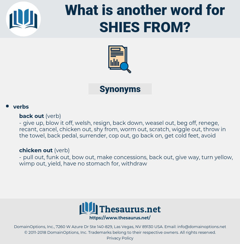 shies from, synonym shies from, another word for shies from, words like shies from, thesaurus shies from