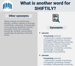 shiftily, synonym shiftily, another word for shiftily, words like shiftily, thesaurus shiftily
