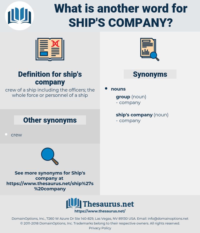 ship's company, synonym ship's company, another word for ship's company, words like ship's company, thesaurus ship's company