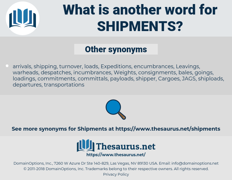 shipments, synonym shipments, another word for shipments, words like shipments, thesaurus shipments