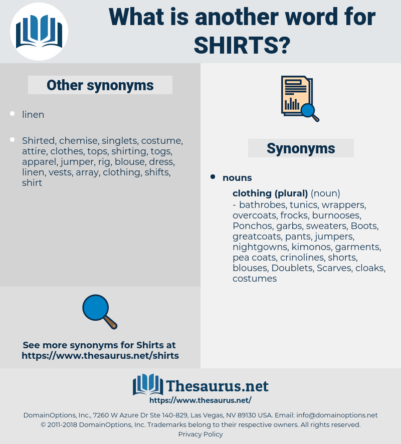 shirts, synonym shirts, another word for shirts, words like shirts, thesaurus shirts