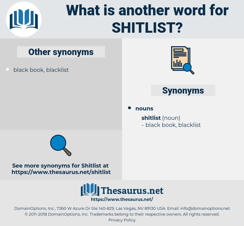 shitlist, synonym shitlist, another word for shitlist, words like shitlist, thesaurus shitlist