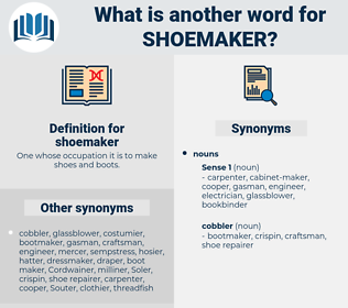 shoemaker, synonym shoemaker, another word for shoemaker, words like shoemaker, thesaurus shoemaker