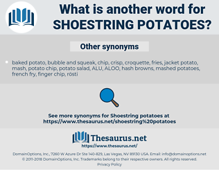 shoestring potatoes, synonym shoestring potatoes, another word for shoestring potatoes, words like shoestring potatoes, thesaurus shoestring potatoes