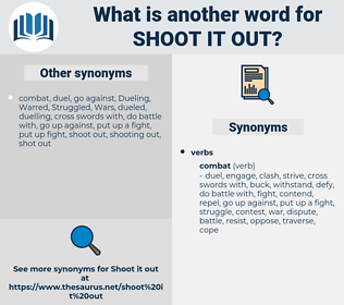 shoot it out, synonym shoot it out, another word for shoot it out, words like shoot it out, thesaurus shoot it out