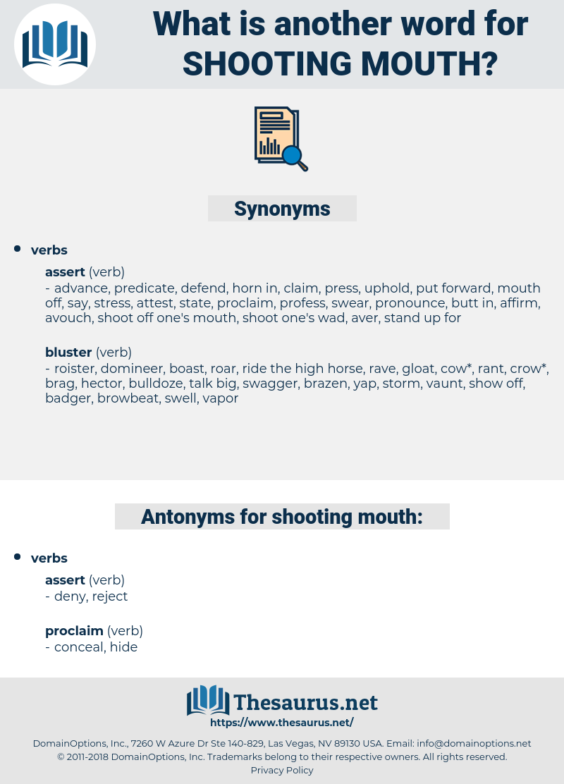 shooting mouth, synonym shooting mouth, another word for shooting mouth, words like shooting mouth, thesaurus shooting mouth