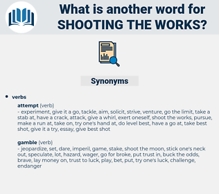 shooting the works, synonym shooting the works, another word for shooting the works, words like shooting the works, thesaurus shooting the works
