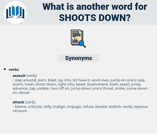 shoots down, synonym shoots down, another word for shoots down, words like shoots down, thesaurus shoots down