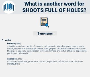 shoots full of holes, synonym shoots full of holes, another word for shoots full of holes, words like shoots full of holes, thesaurus shoots full of holes