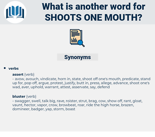 shoots one mouth, synonym shoots one mouth, another word for shoots one mouth, words like shoots one mouth, thesaurus shoots one mouth