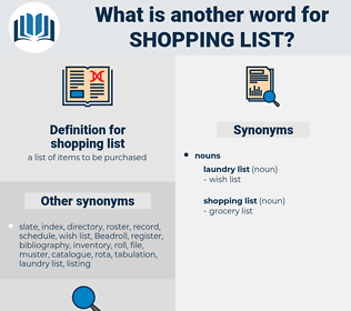 shopping list, synonym shopping list, another word for shopping list, words like shopping list, thesaurus shopping list