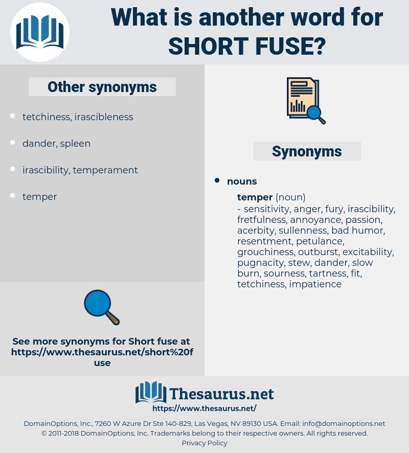 short-fuse, synonym short-fuse, another word for short-fuse, words like short-fuse, thesaurus short-fuse