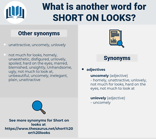 short on looks, synonym short on looks, another word for short on looks, words like short on looks, thesaurus short on looks