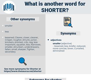 shorter, synonym shorter, another word for shorter, words like shorter, thesaurus shorter