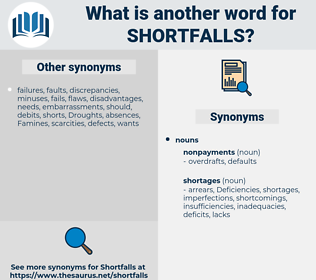 shortfalls, synonym shortfalls, another word for shortfalls, words like shortfalls, thesaurus shortfalls