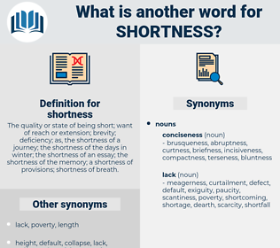 shortness, synonym shortness, another word for shortness, words like shortness, thesaurus shortness