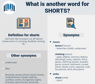 shorts, synonym shorts, another word for shorts, words like shorts, thesaurus shorts
