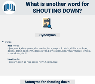 shouting down, synonym shouting down, another word for shouting down, words like shouting down, thesaurus shouting down