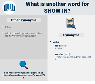 show in, synonym show in, another word for show in, words like show in, thesaurus show in