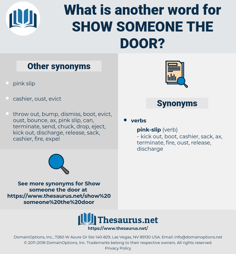 show someone the door, synonym show someone the door, another word for show someone the door, words like show someone the door, thesaurus show someone the door