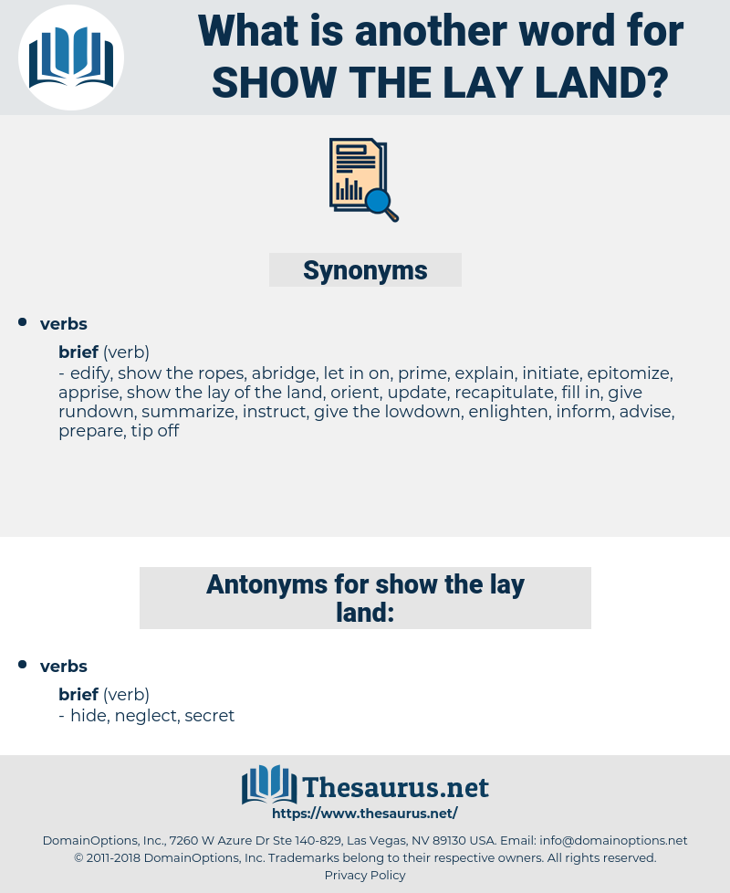 show the lay land, synonym show the lay land, another word for show the lay land, words like show the lay land, thesaurus show the lay land