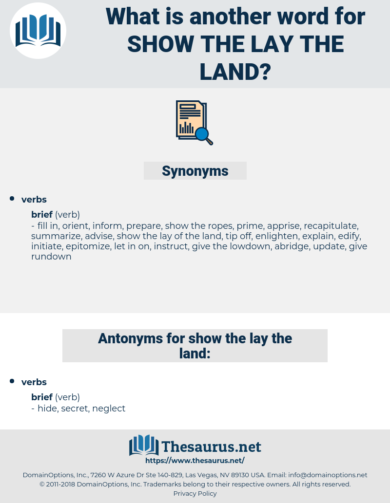 show the lay the land, synonym show the lay the land, another word for show the lay the land, words like show the lay the land, thesaurus show the lay the land