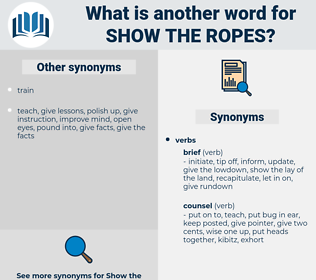 show the ropes, synonym show the ropes, another word for show the ropes, words like show the ropes, thesaurus show the ropes