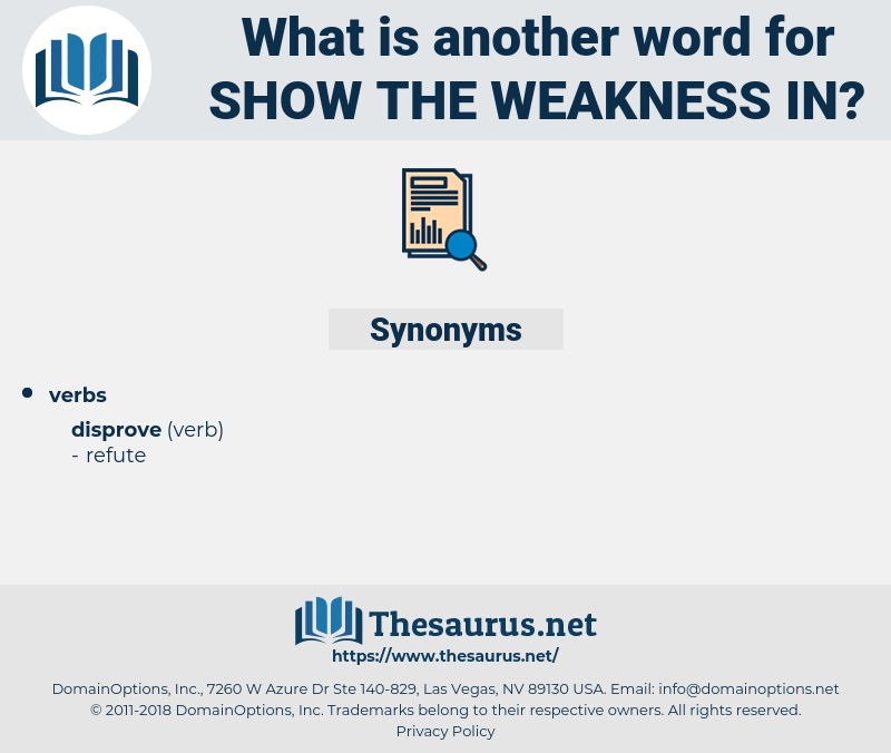 show the weakness in, synonym show the weakness in, another word for show the weakness in, words like show the weakness in, thesaurus show the weakness in
