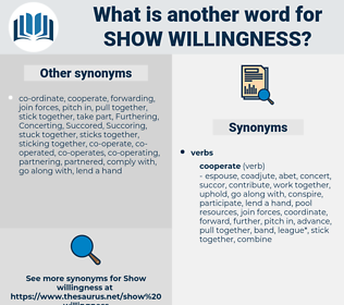 show willingness, synonym show willingness, another word for show willingness, words like show willingness, thesaurus show willingness