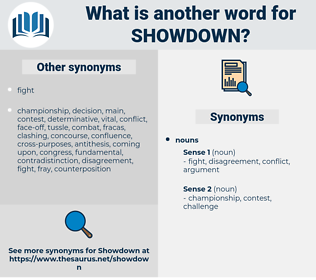 showdown, synonym showdown, another word for showdown, words like showdown, thesaurus showdown