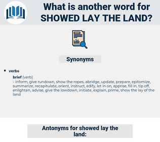 showed lay the land, synonym showed lay the land, another word for showed lay the land, words like showed lay the land, thesaurus showed lay the land