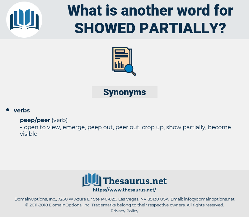 showed partially, synonym showed partially, another word for showed partially, words like showed partially, thesaurus showed partially