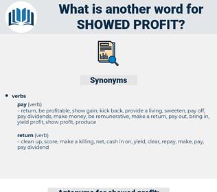 showed profit, synonym showed profit, another word for showed profit, words like showed profit, thesaurus showed profit