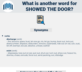 showed the door, synonym showed the door, another word for showed the door, words like showed the door, thesaurus showed the door