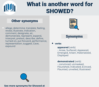 showed, synonym showed, another word for showed, words like showed, thesaurus showed