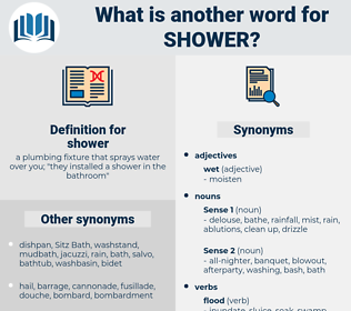 shower, synonym shower, another word for shower, words like shower, thesaurus shower