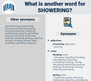 Showering, synonym Showering, another word for Showering, words like Showering, thesaurus Showering