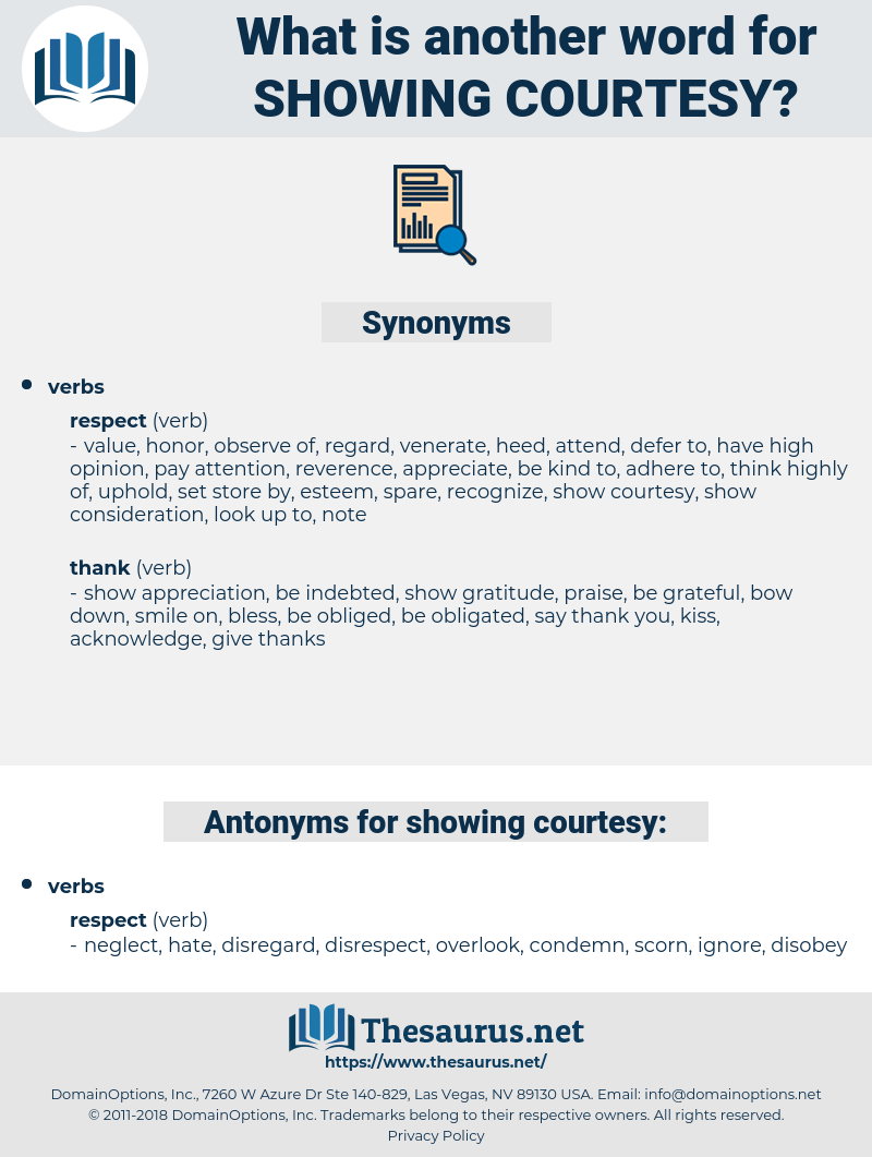 showing courtesy, synonym showing courtesy, another word for showing courtesy, words like showing courtesy, thesaurus showing courtesy