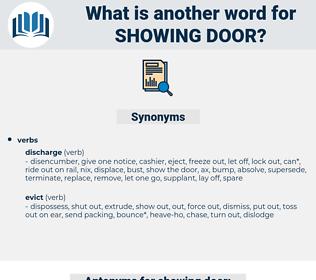 showing door, synonym showing door, another word for showing door, words like showing door, thesaurus showing door