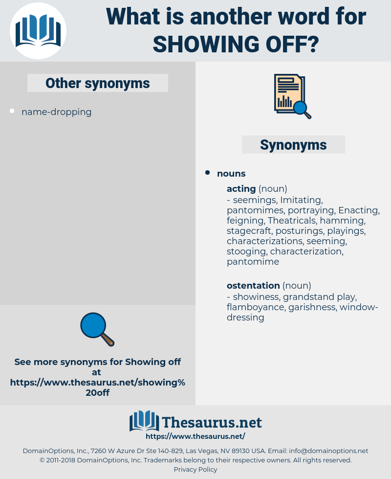 showing off, synonym showing off, another word for showing off, words like showing off, thesaurus showing off