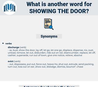 showing the door, synonym showing the door, another word for showing the door, words like showing the door, thesaurus showing the door