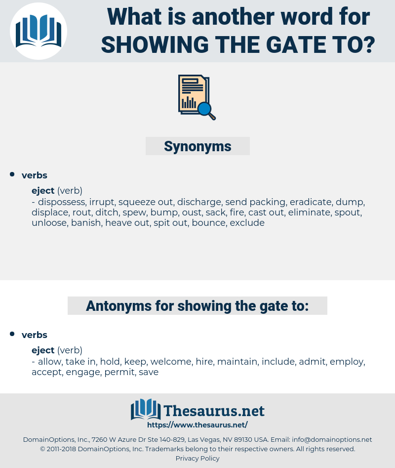 showing the gate to, synonym showing the gate to, another word for showing the gate to, words like showing the gate to, thesaurus showing the gate to