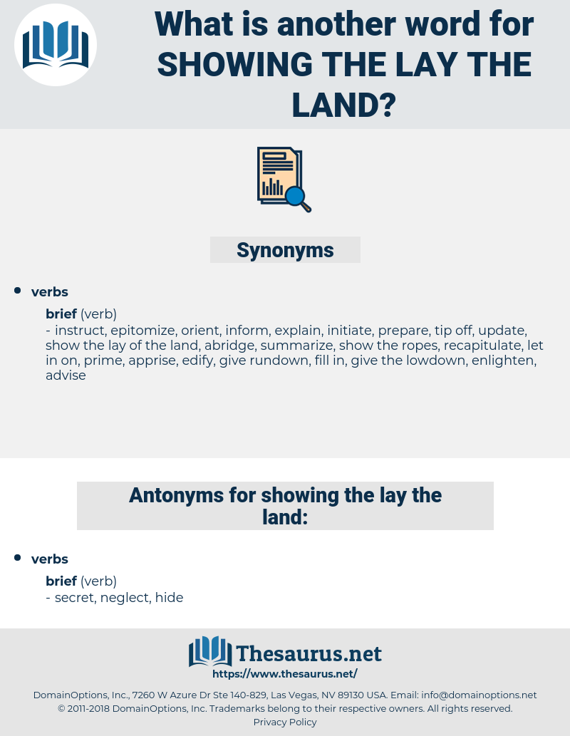 showing the lay the land, synonym showing the lay the land, another word for showing the lay the land, words like showing the lay the land, thesaurus showing the lay the land