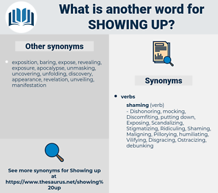 showing up, synonym showing up, another word for showing up, words like showing up, thesaurus showing up