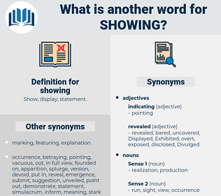 showing, synonym showing, another word for showing, words like showing, thesaurus showing
