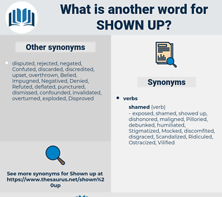 shown up, synonym shown up, another word for shown up, words like shown up, thesaurus shown up