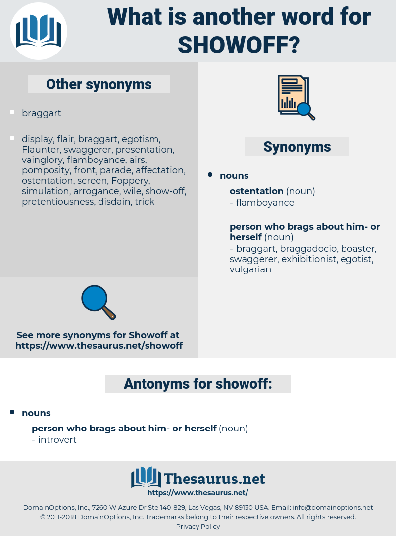 showoff, synonym showoff, another word for showoff, words like showoff, thesaurus showoff