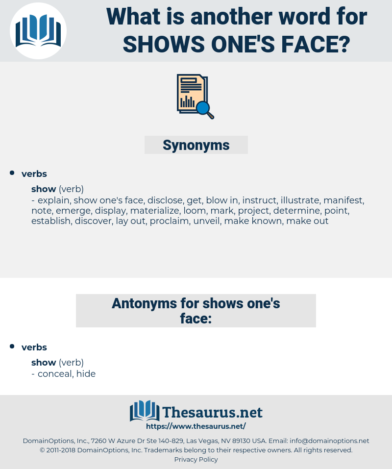 shows one's face, synonym shows one's face, another word for shows one's face, words like shows one's face, thesaurus shows one's face